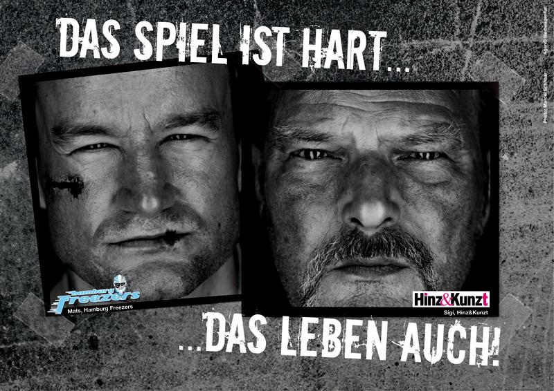Eins von drei Motiven der gemeinsamen Kampagne von Hinz&Kunzt und den Hamburg Freezers