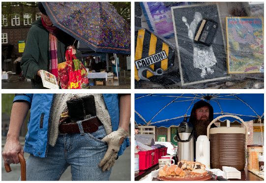Trotz der Schirme und Planen: Der Flohmarkt auf dem Burchardtplatz hat Spaß gemacht  – auch wenn die Miene  von Hinz&Kunzt-Mitarbeiter Frank Nawatzki, unten rechts mit Kaffee und Kuchen, anderes vermuten lässt.