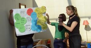 Die Moderatorinnen Gabi Zehetner (Kupfermuckn, Linz) und Daniela Mussnig (Interkulturelles Zentrum, Wien) bei der Präsentation der Ergebnisse der AG 3