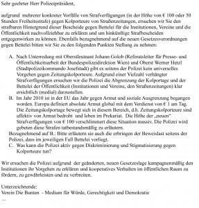 Schreiben an den Wiener Polizeipräsidenten. Zum Vergößern bitte klicken