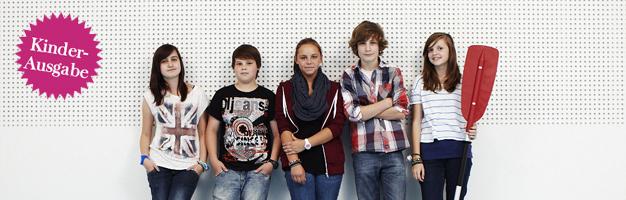 Schülerreporter (v. li.) Sarah Kucharski, Michael Mlotek, Jana Wentzel, Finn-Jordan Max, Jessica Heinelt