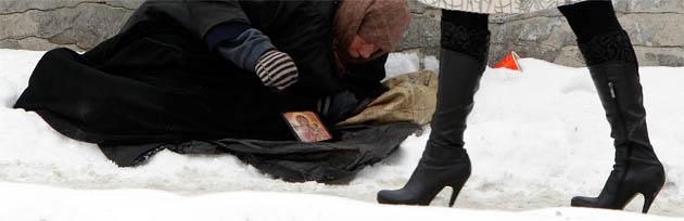 Kiew: Die extreme Kälte in der Ukraine bringt Obdachlose in Lebensgefahr. Foto: Reuters
