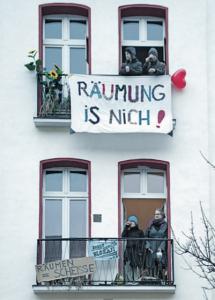 Protest gegen Zwangsräumge in Berlin. Foto: Mauricio Bustamante.