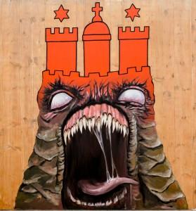 """Willkommen im """"Hamburger Wohn-Horror""""! Bei einer Rundtour  durch ein Fahrgeschäft in Geisterbahnoptik erleben Kirchentagsbesucher, wie schwierig die Suche nach den eigenen vier Wänden ist. Wie die Stadt und Saga GWG Abhilfe schaffen könnten, hat die Diakonie in ihren neuen Forderungen zusammengefasst. Foto: Markus Scholz/ Diakonisches Werk Hamburg"""