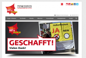 Auf ihrer Homepage feiert die Initiative für den Netzrückkauf das Abstimmungsergebnis. Bild: Screenshot