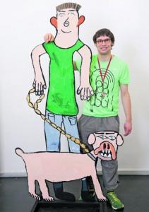 """Johannes Dechow hat seinen großen Freund selbst entworfen, gemalt und ausgesägt. In der Ausstellung sind 16 weitere Fantasie- figuren der """"Schlumper Maler"""" zu sehen."""