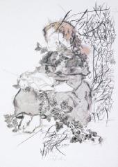 """""""Die Froschprinzessin"""" (1986) ist eine  Tuschzeichnung mit Monotypien. Originell: Für  das Blattwerk dienten echte Blätter als Druckstock."""