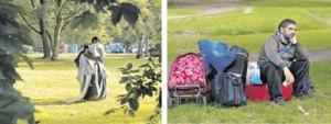 Christian versteht nicht,  warum er sein Zelt abbauen muss. Nach dem Polizeieinsatz sitzt er  verzweifelt auf seinen  Gepäckstücken im Park und überlegt, wo er nun hin soll.