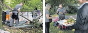 Mitarbeiter der Stadtreinigung reißen provisorische Hütten ab, die Obdachlose im Gebüsch errichtet hatten. Als Geste verteilt der Bezirk Brötchen an die ehemaligen Parkbewohner.