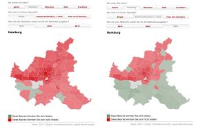 Rot heißt: zu teuer. Karten zu Wohnen mit Mindestlohn in Hamburg. Abbildung: www.spiegel.de