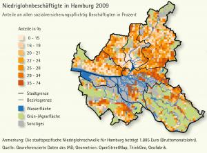 Karte: Wo in Hamburg viele Niedriglöhner wohnen. Abbildung: IAB